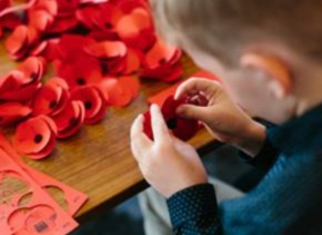 Making Poppies for the Armistice Centenary Project